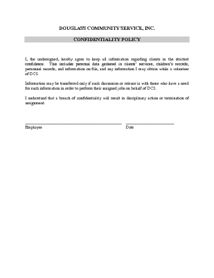 Confidentiality Policy for Volunteers