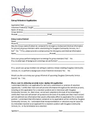 Group Volunteer Application