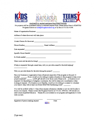 Kids in Motion and Teens in Motion Assistance Request Form