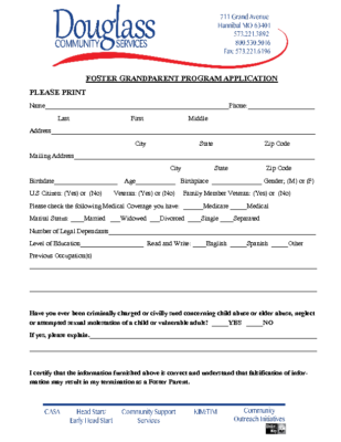 Foster Grandparent Program Application