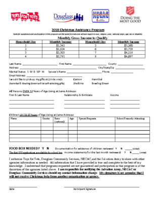 2018 Christmas Assistance Application