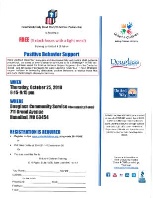 Head Start Positive Behavior Support Flyer