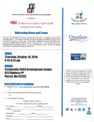 Head Start Stress and Trauma Flyer