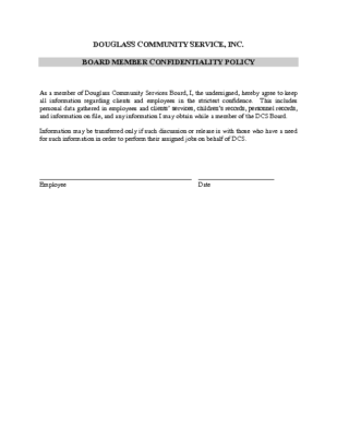 Board Member Confidentiality Policy