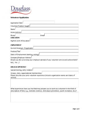 Individual Volunteer Application