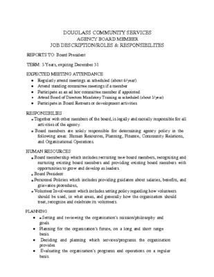 Board Member Job Description