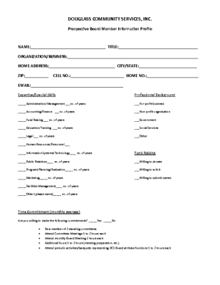 Prospective Board Member Info Profile